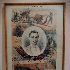 Tauromaquia: FRANCISCO ARJONA REYES CURRITO. LITOGRAFÍA ENMARCADA REVISTA LA LIDIA. FINALES SIGLO XIX. TOROS. Lote 182222851