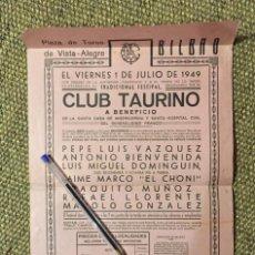 Tauromaquia: CARTEL Y PROGRAMA CORRIDA CLUB TAURINO BILBAO 1949. Lote 183498861