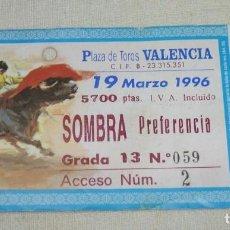 Tauromaquia: L - 2 - ENTRADA PLAZA DE TOROS DE VALENCIA. 19 - 03 - 1996.. Lote 185913473