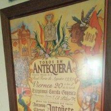 Tauromaquia: CARTEL DE TOROS REAL FERIA DE AGOSTO. PLAZA DE TOROS DE ANTEQUERA CURRO ROMERO, RAFAEL DE PAULA..... Lote 186015406