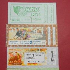 Tauromaquia: LOTE 4 ENTRADAS , ENTRADA CORRIDA DE TOROS 4 UNIDADES DIFERENTES DE LORCA - AÑOS 70 .. L549. Lote 186138652