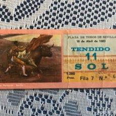Tauromaquia: ENTRADA DE TOROS 18 DE ABRIL 1983 PLAZA DE TOROS DE SEVILLA. Lote 186150835
