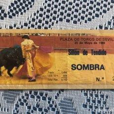 Tauromaquia: ENTRADA DE TOROS 25 DE MAYO 1989 PLAZA DE TOROS DE SEVILLA. Lote 186150956
