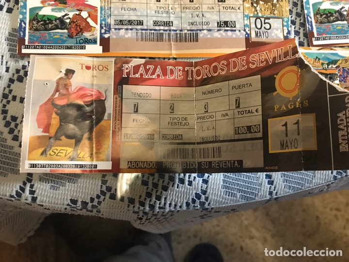 Tauromaquia: Lote 6 entradas de toros años 2017-2019 plaza de toros de Sevilla - Foto 4 - 186151333