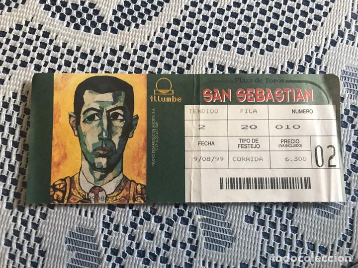 ENTRADA DE TOROS 9 DE AGOSTO 1999 PLAZA DE TOROS DE SAN SEBASTIÁN (Coleccionismo - Tauromaquia)
