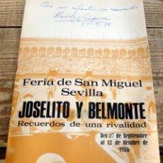 Tauromaquia: SEVILLA, 1986, CATALOGO EXPOSICION JOSELITO Y BELMONTE, RECUERDOS DE UNA RIVALIDAD,10 PAGINAS. Lote 189075998