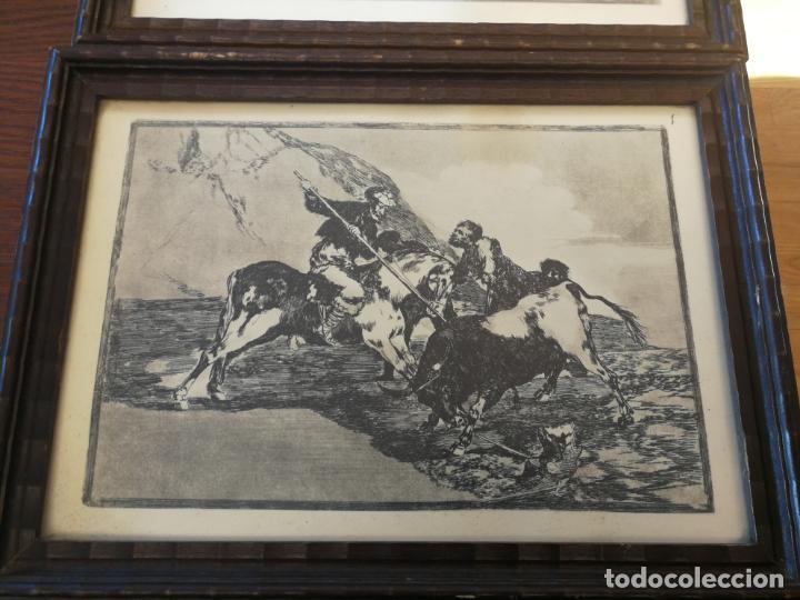 Tauromaquia: TAUROMAQUIA GOYA 3 LÁMINAS ANTIGUAS ENMARCADAS EN MADERA Nº 1-3-7 AÑOS 70 - Foto 3 - 189477865