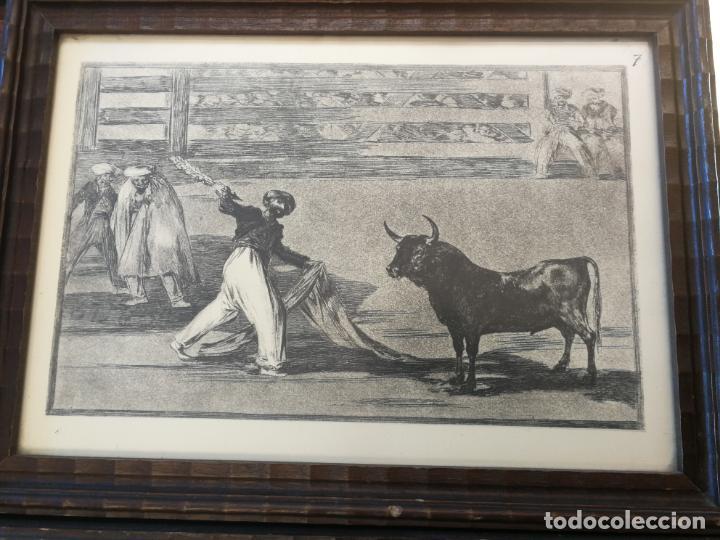 Tauromaquia: TAUROMAQUIA GOYA 3 LÁMINAS ANTIGUAS ENMARCADAS EN MADERA Nº 1-3-7 AÑOS 70 - Foto 4 - 189477865