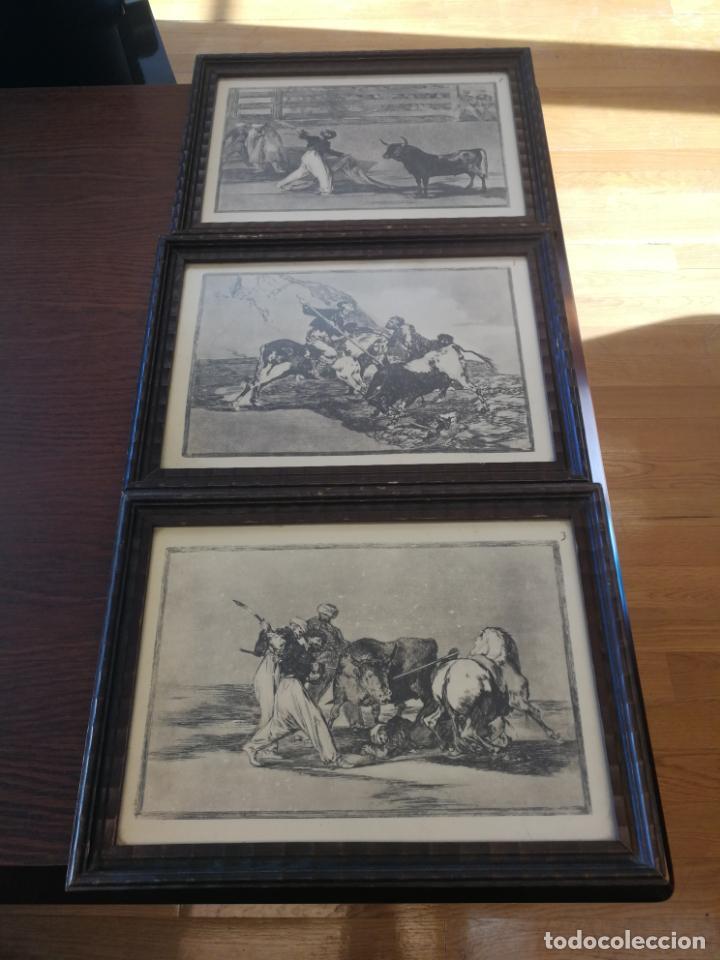 TAUROMAQUIA GOYA 3 LÁMINAS ANTIGUAS ENMARCADAS EN MADERA Nº 1-3-7 AÑOS 70 (Coleccionismo - Tauromaquia)
