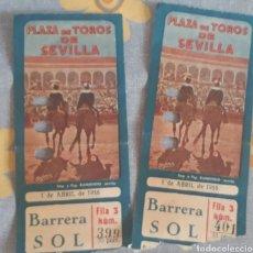 Tauromaquia: 2 ENTRADAS PLAZA DE TOROS SEVILLA 1956. Lote 189544521