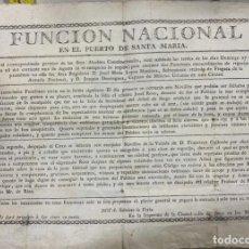 Tauromaquia: PUERTO SANTA MARIA. SIGLO XIX. CARTEL DE CORRIDA DE TOROS. CARLOS III.. Lote 190320443