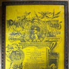 Tauromaquia: CUADRO. CARTEL EN SEDA. PLAZA DE TOROS DE MADRID. 1908. CORRIDA EXTRAORDINARIA. VER FOTOS. Lote 190331182