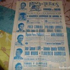 Tauromaquia: CARTEL TOROS ARANDA DE DUERO :PACO CAMINO,PALOMO LINARES,ANGEL TERUEL, MANZANARES, PARRITA. Lote 190767016