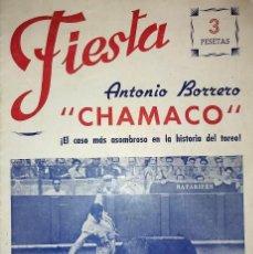 Tauromaquia: ANTONIO BORRERO CHAMACO. 1954. FIESTA REVISTA TAURINA. 24 PÁGINAS.. Lote 190881336