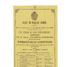 Tauromaquia: CARTEL PLAZA DE TOROS DE MADRID 1878.- CON MOTIVO DEL ENLACE DE SU MAJESTAD EL REY ALFONSO XII.. Lote 191517343
