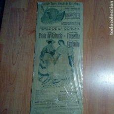 Tauromaquia: VIEJO CARTEL TAURINO MAGNIFICA NOVILLADA - PLAZA D TOROS ARENAS BARCELONA 1918 RUBIO D VALENCIA -. Lote 193608678