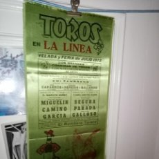 Tauromaquia: CARTEL SEDA TOROS ELLALINEA FERIA 1972 2 GRANDES CORRIDAS DE TOROS M. 18X38. Lote 194228651