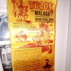 Tauromaquia: CARTEL SEDA GRAN FERIA DE MALAGA 1973 CON A.BIENVENIDA -C.ROMERRO- L. M. DOMINGUIZ Y OTROS -25X50. Lote 194230121