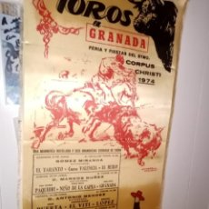 Tauromaquia: CARTEL SEDA TOROS EN GRANADA FERIA DEL CORPUS CHRISTI 1974- 6 CORRIDAS Y 1 NOVILLADA M- 25X50. Lote 194231168