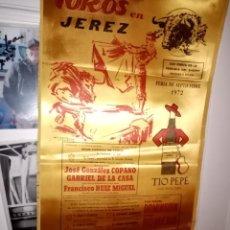 Tauromaquia: CARTEL SEDA TOROS EN JEREZ FERIA DE SEPTIEMBRE 1972 M.25X50 CON DOMINGUIZ-ROMERO Y PAULA. Lote 194231521