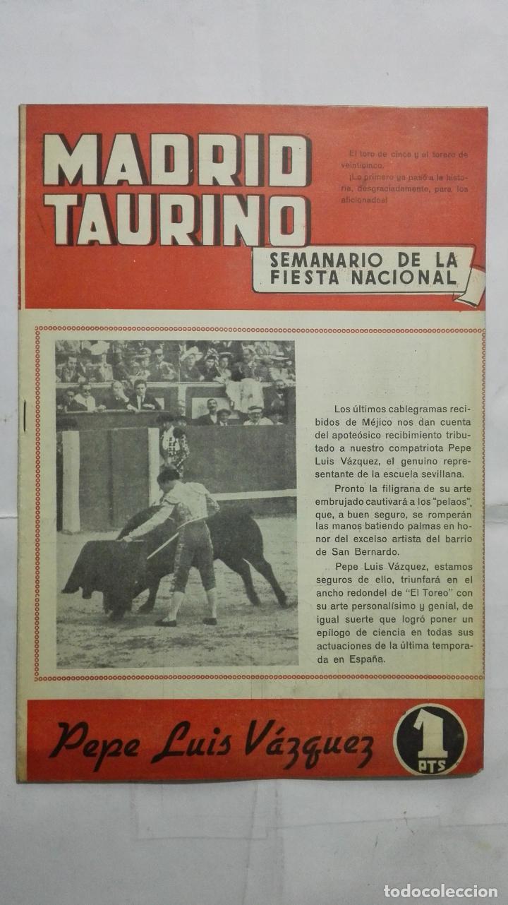 MADRID TAURINO, SEMANARIO DE LA FIESTA NACIONAL, Nº 466, DICIEMBRE 1944 (Coleccionismo - Tauromaquia)