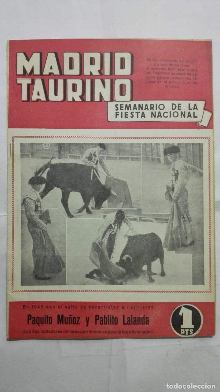MADRID TAURINO, SEMANARIO DE LA FIESTA NACIONAL, Nº 468, DICIEMBRE 1944 (Coleccionismo - Tauromaquia)