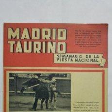 Tauromaquia: MADRID TAURINO, SEMANARIO DE LA FIESTA NACIONAL, Nº 432, ABRIL 1944. Lote 194247507