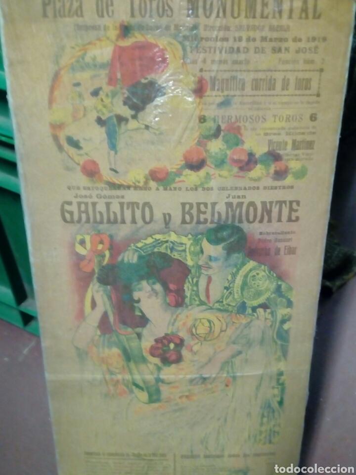 BANDERILLA TEMA TAURINA PLAZA D TOROS MONUMENTAL D BARNA 1919 GALLITO Y BELMONTE (Coleccionismo - Tauromaquia)