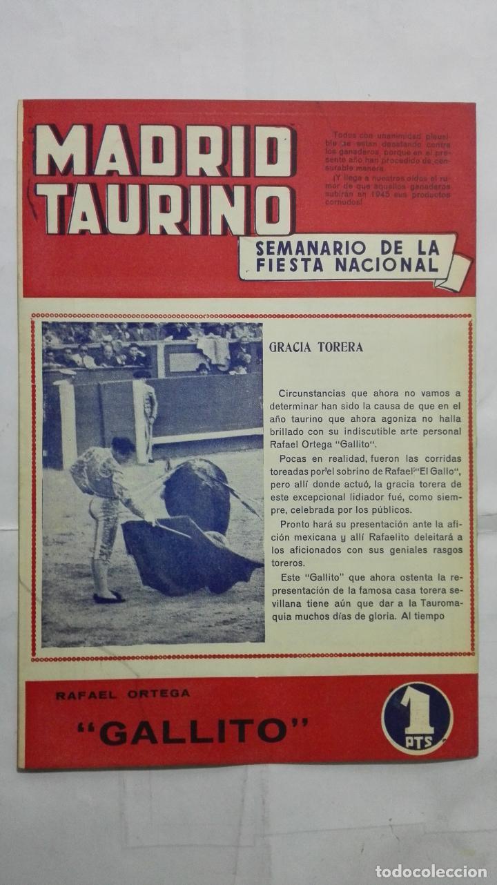 Tauromaquia: MADRID TAURINO, SEMANARIO DE LA FIESTA NACIONAL, Nº 462, NOVIEMBRE 1944 - Foto 2 - 194247872