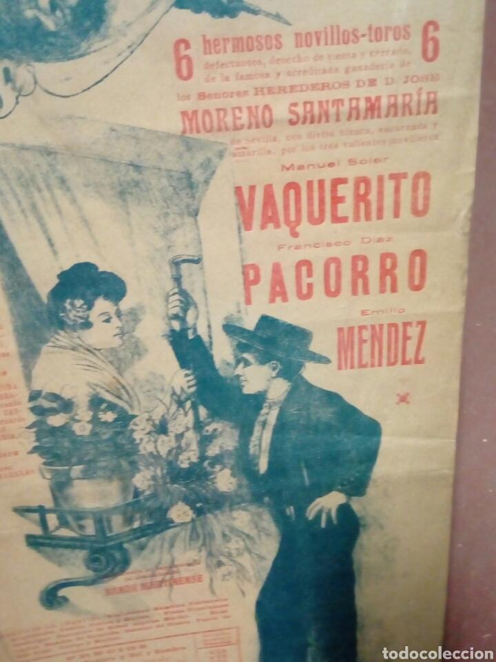 Tauromaquia: Banderilla tema taurina plaza d toros monumental d barna 1917 vaquerito - parroco y mendez novillada - Foto 2 - 194247981