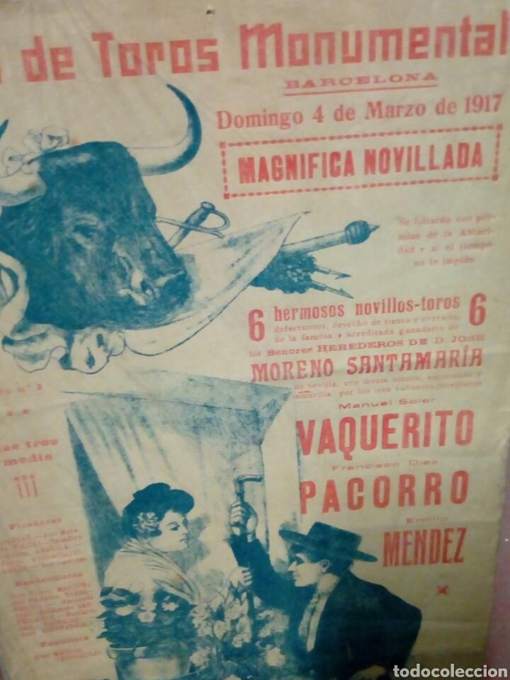 Tauromaquia: Banderilla tema taurina plaza d toros monumental d barna 1917 vaquerito - parroco y mendez novillada - Foto 3 - 194247981