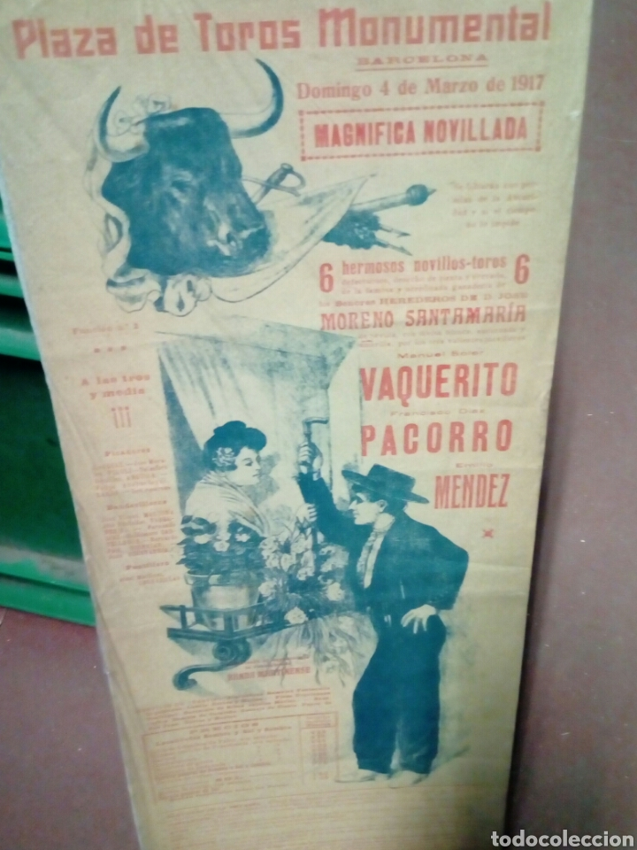 BANDERILLA TEMA TAURINA PLAZA D TOROS MONUMENTAL D BARNA 1917 VAQUERITO - PARROCO Y MENDEZ NOVILLADA (Coleccionismo - Tauromaquia)