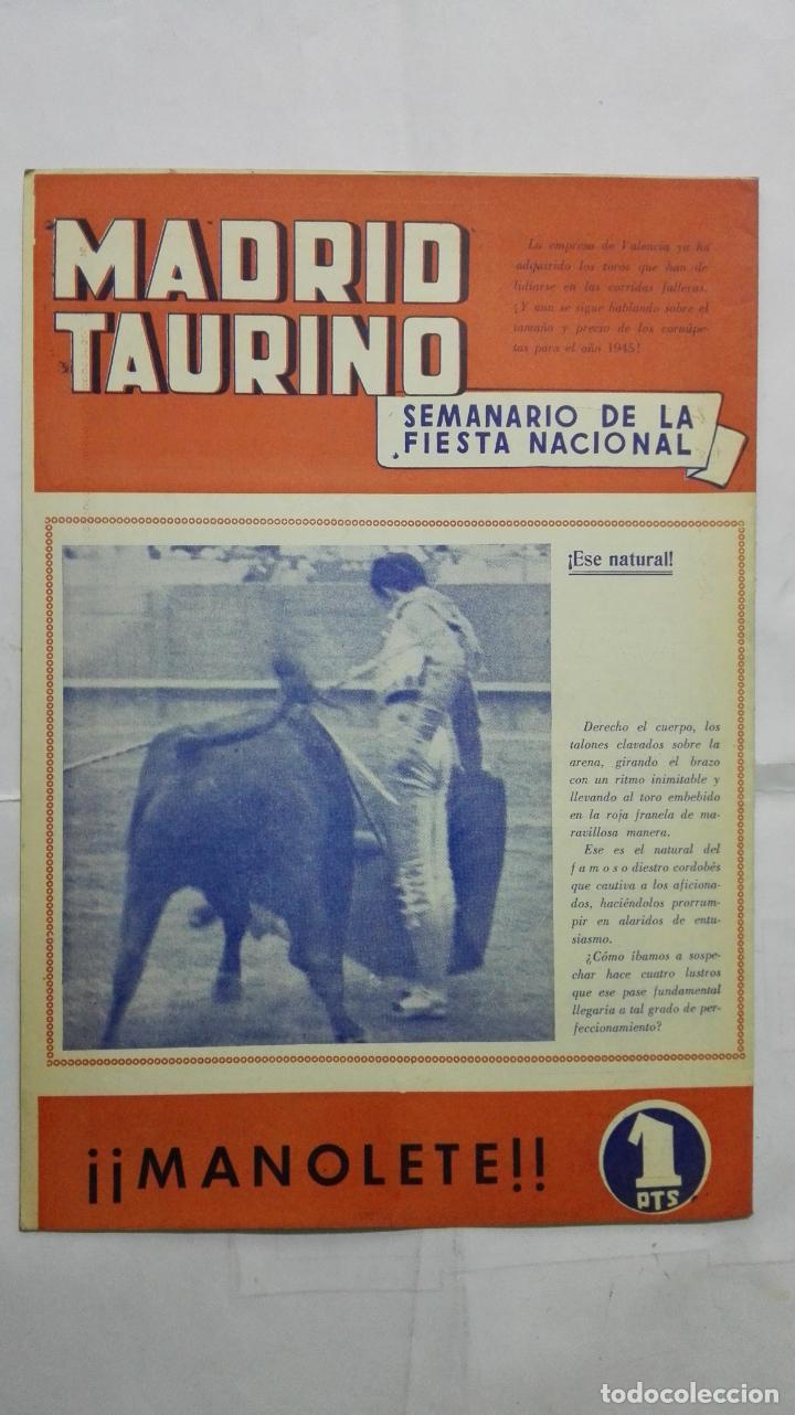 Tauromaquia: MADRID TAURINO, SEMANARIO DE LA FIESTA NACIONAL, Nº 465, DICIEMBRE 1944 - Foto 2 - 194248022