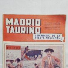 Tauromaquia: MADRID TAURINO, SEMANARIO DE LA FIESTA NACIONAL, Nº 452, AGOSTO 1944. Lote 194248195