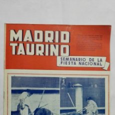Tauromaquia: MADRID TAURINO, SEMANARIO DE LA FIESTA NACIONAL, Nº 456, OCTUBRE 1944. Lote 194248273