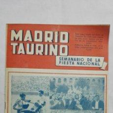 Tauromaquia: MADRID TAURINO, SEMANARIO DE LA FIESTA NACIONAL, Nº 460, NOVIEMBRE 1944. Lote 194248467