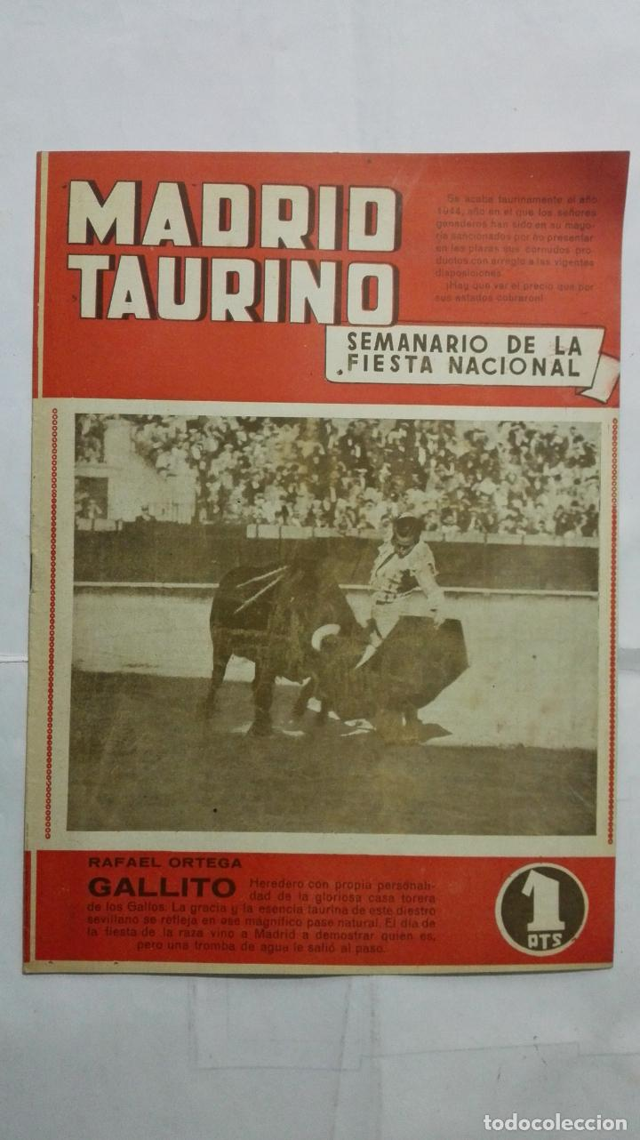 MADRID TAURINO, SEMANARIO DE LA FIESTA NACIONAL, Nº 458, OCTUBRE 1944 (Coleccionismo - Tauromaquia)