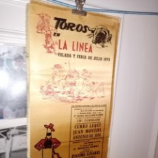 Tauromaquia: CARTEL SEDA TOROS EN LA LINEA FERIA 1973 Mº 17 X 38. Lote 194280748