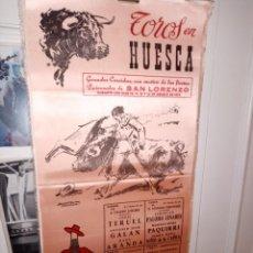 Tauromaquia: CARTEL DE SEDA TORO EN HUESCA FERIA SAN LORENZO 1975 M. 25 X 50. Lote 194370418