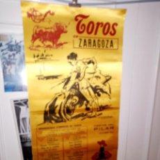 Tauromaquia: CARTEL DE SEDA TORO EN ZARAGOZA FIESTAS DEL PILAR 1977 7 CORRIDAS DE TOROS M. 25 X 50. Lote 194370862