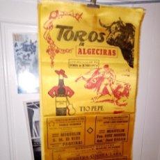 Tauromaquia: CARTEL DE SEDA TORO EN ALGECIRAS FERIA DE JUNIO DEL 1974 M. 25 X 50. Lote 194371131
