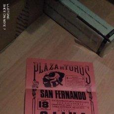 Tauromaquia: CÁDIZ. CARTEL DE TOROS. PLAZA DE TOROS DE SAN FERNANDO. OLIVA, ZARATE, MARTIN. 1987.. Lote 194723201