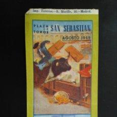 Tauromaquia: ENTRADA TOROS SAN SEBASTIAN (16/08/1949). Lote 194771122
