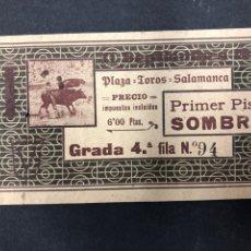 Tauromaquia: PLAZA DE TOROS DE SALAMANCA - ENTRADA NUMERADA CORRIDA DE TOROS, AÑOS 20. Lote 194920533