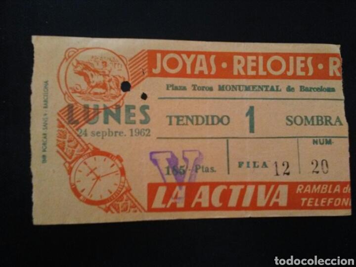 ENTRADA TOROS BARCELONA (24/09/1962) (Coleccionismo - Tauromaquia)