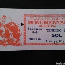 Tauromaquia: ENTRADA TOROS BARCELONA (1/08/1968). Lote 195237261