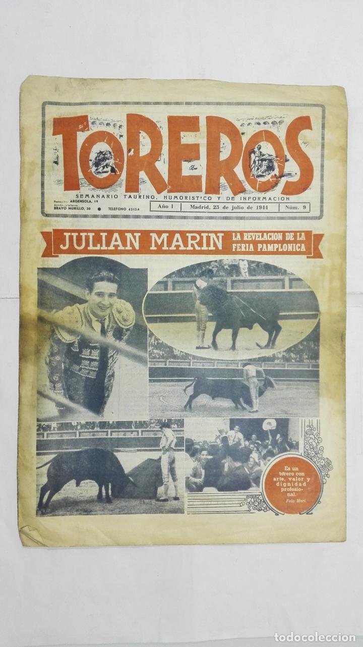 Tauromaquia: SEMANARIO TAURINO HUMORISTICO TOREROS, Nº 9, CARLOS ARRUZA, JULIO DE 1944 - Foto 2 - 195332466