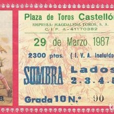 Tauromaquia: ENTRADA A LA PLAZA DE TOROS DE CASTELLON AÑO 1987. Lote 195400108