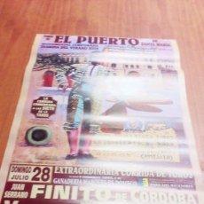 Tauromaquia: CARTEL DE TORO EL PUERTO. 28 JULIO 2002. FINITO DE CORDOBA. VICENTE BARRERA. EL JULI. BBB. Lote 195425853