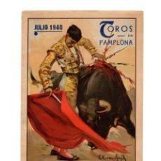 Tauromaquia: PROGRAMA TOROS.- FIESTAS DE SAN FERMÍN.- PAMPLONA JULIO 1940.. Lote 195502497